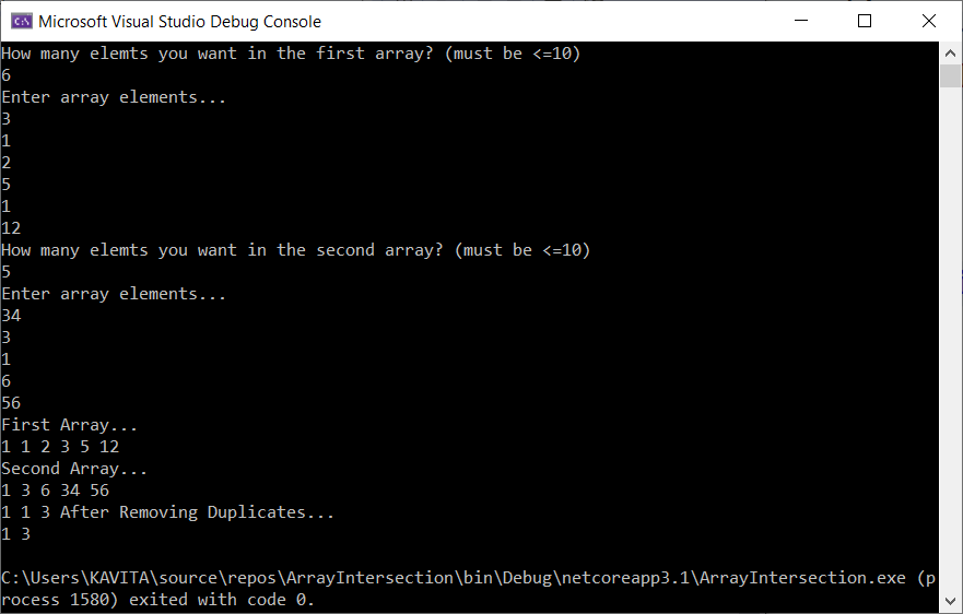 Output of Program to Find Intersection Using Arrays in C#