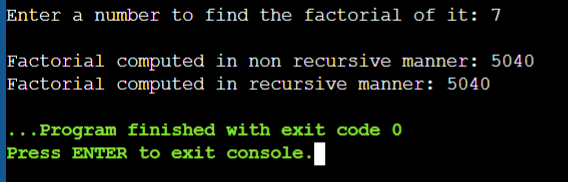 Output of a C Program to Find Factorial of a Number