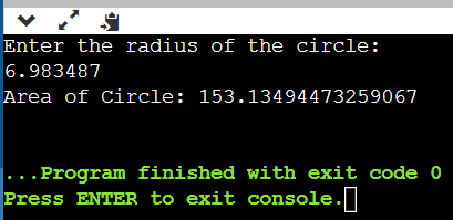 The Output of Program to Compute and Display Area of a Circle in Java
